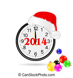 christmas clock color vector illustration