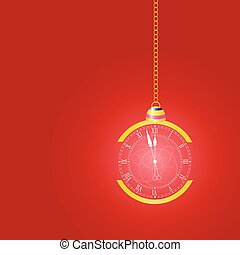 christmas clock vector on red