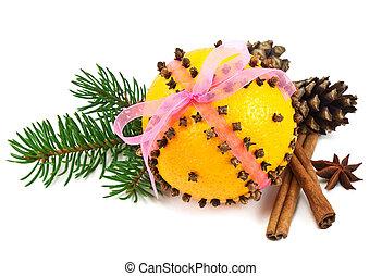 Christmas clove and orange pomander