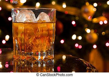 Christmas Cocktail - Cristmas Liquor Cocktail in a Crystal...