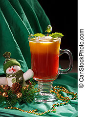 Christmas coffee with mint and ice cream.