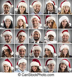 Christmas collage - Collage of people with Santa Claus hat