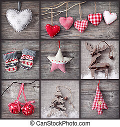 Christmas collage - Collage of christmas photos over grey...