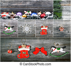Christmas collage with beautiful decorative ornaments
