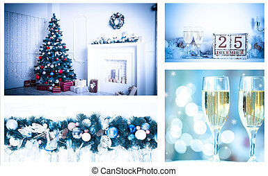 Christmas collage with photos of spruce, champagne and decorations