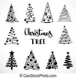 Christmas collection of decorative trees. Isolated object on white background. Doodles and sketches. Concept tree icon collection