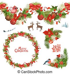 christmas collection of floral patterns and seamless border for