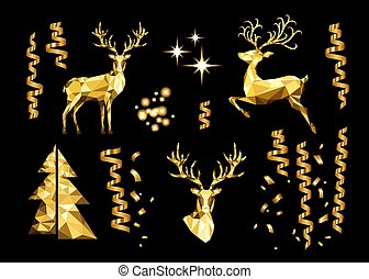 Christmas collection of golden decorative design elements....