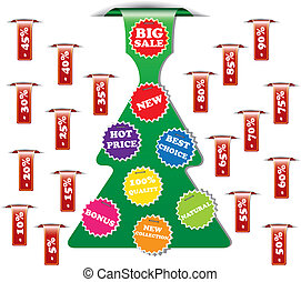 Christmas collection of sale or discount tags for price list