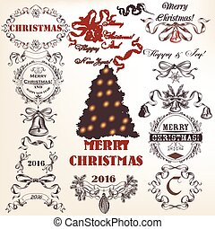 Christmas collection or set of vector decorative frames and Xmas decoration for design in vintage style.