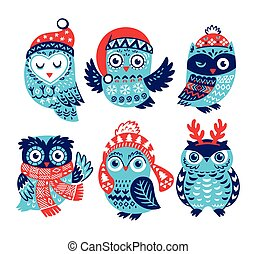 Christmas collection with cute little owls in knitted hats -...