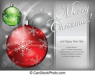 Christmas color baubles with snowflake & text
