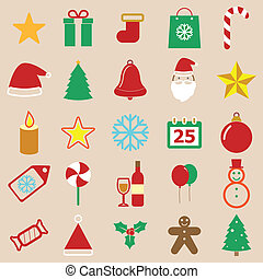 Christmas color icons on brown background