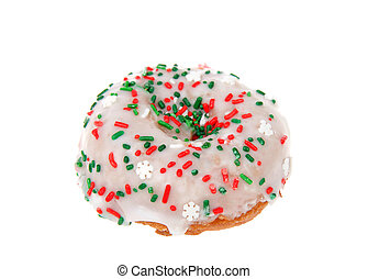 Christmas colored sprinkle donut isolated