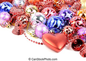 Christmas colorful decore - Christmas decore with red hearts...