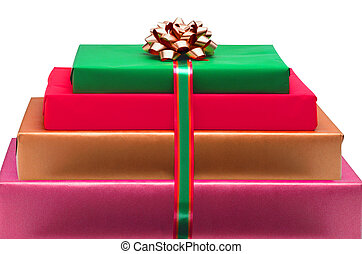 Christmas colorful gift boxes with bow isolated on white