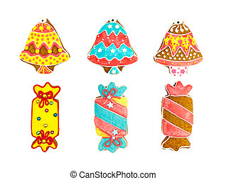 christmas colorful gingerbread cookies on white background