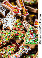 Christmas colorful home made gingerbread.