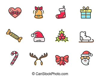 Christmas Colorful Icons Set Vector Illustration