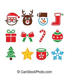 Christmas colorful icons set