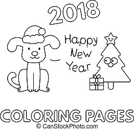 Christmas Coloring Pages with Cartoon Dog