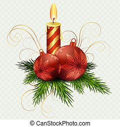 Christmas composition by burning candle, red Christmas balls and Christmas tree twigs,