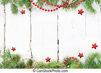 Christmas composition. Christmas decoration on white wooden background. Christmas, winter, new year concept. Flat lay, top view.