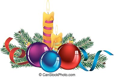 Christmas composition - Christmas decorations, candles,...