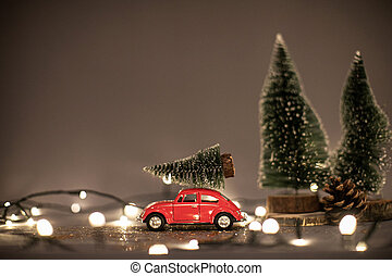 Christmas composition. Christmas tree, cones, garland and Christmas decorations