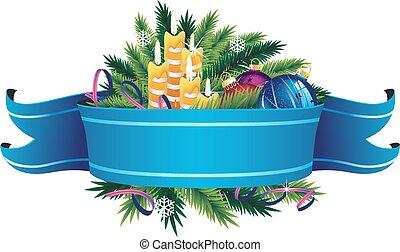 Christmas composition - Christmas ornaments, candle and fir...