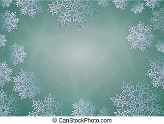 Christmas composition in bright green with beautiful white snowflakes.