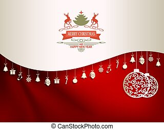 Christmas composition in dark red and white with pendants and text with deers