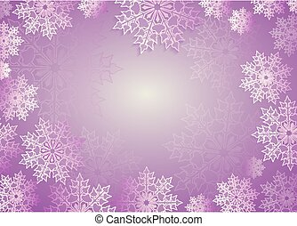 Christmas composition in light purple hue with beautiful white snowflakes