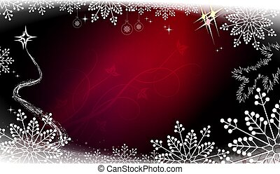 Christmas composition in red dark shade with gradient, gorgeous white snowflakes with abstract Christmas tree