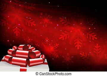 Christmas composition in red with snowflakes, white box lid silhouette, beautiful red bow