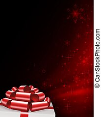 Christmas composition in red with snowflakes, white box lid silhouette, red bow