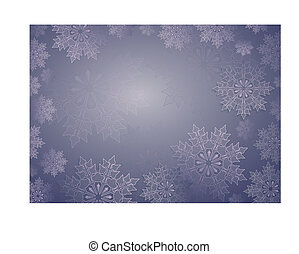 Christmas composition of blue color with beautiful white snowflakes, frame.