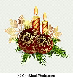 Christmas composition of candles and Christmas balls with snowflakes and Christmas tree twigs.