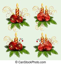 Christmas composition of fir green branches, burning candles and balls with snowflakes and staff, design element.