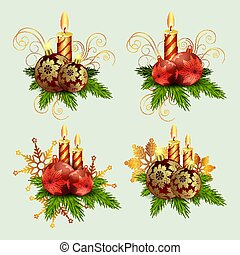 Christmas composition of fir green branches, burning candles and balls with snowflakes, set.