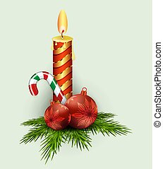 Christmas composition of green fir branches, balls, burning candle and staff.