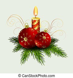 Christmas composition of green spruce branches, a burning candle, balls with snowflakes,