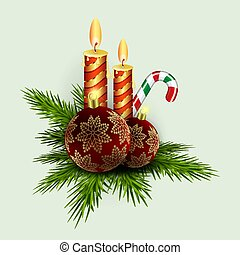 Christmas composition of green spruce branches, candles, staff and burgundy balls with golden snowflakes