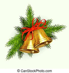 Christmas composition of green spruce branches, golden bells with red ribbon.