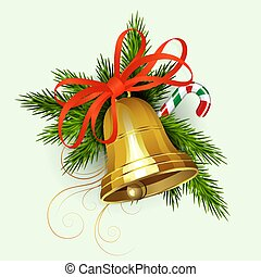 Christmas composition of green spruce branches, staff and golden bell with a red bow.
