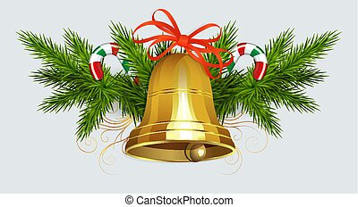 Christmas composition of green spruce twigs, staff and golden bell with red ribbon