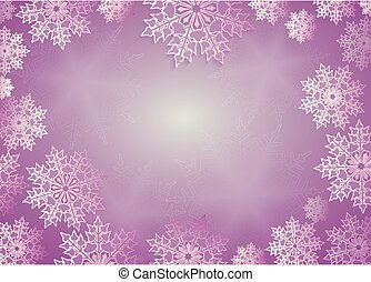 Christmas composition of purple hue with lovely white snowflakes, frame.