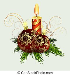 Christmas composition of spruce green branches, a burning candle, burgundy balls with snowflakes.