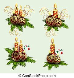 Christmas composition of spruce green branches, burning candles and balls with golden snowflakes with a staff, set,