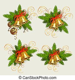 Christmas composition of spruce green branches, golden bells and burgundy balls with golden snowflakes, design element.